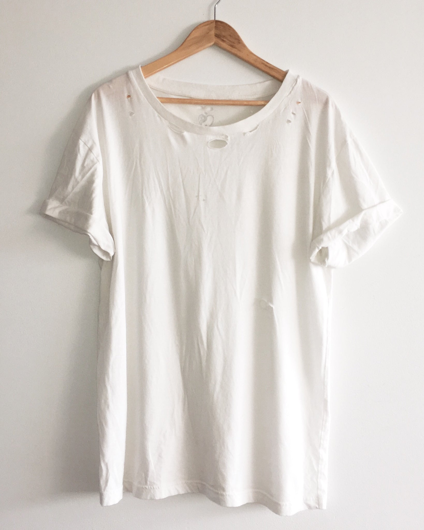 Vintage Style T Shirt - Aged White