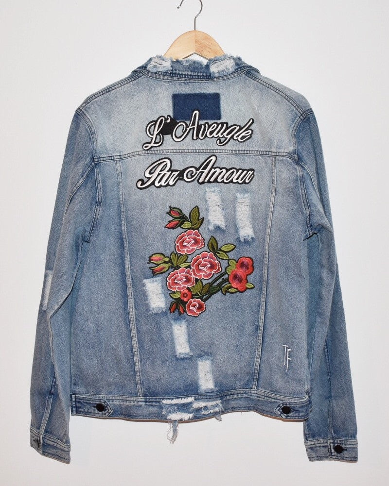 custom distressed gucci inspired denim jacket with embroidery