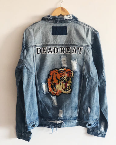 custom denim jacket, distressing throughout, embroidery patches, deadbeat, tiger patch denim jacket