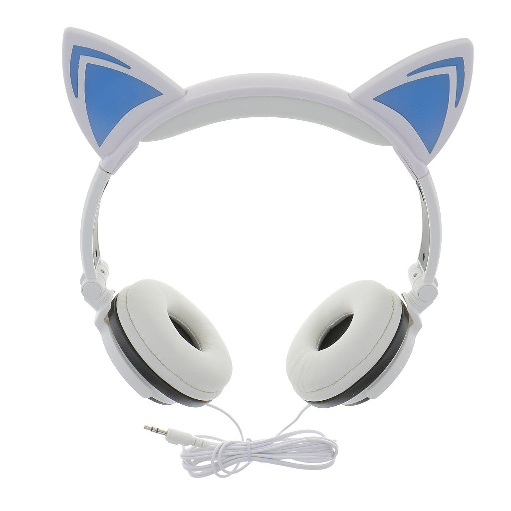 Dovewill Cat Ear Wired Headphones with Glowing LED Lights Over The Ear