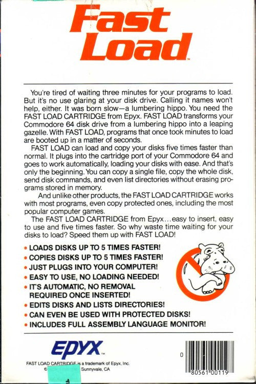Back cover of Epyx Fast Load Cartridge for Commodore 64 Manual