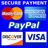 Save and secure payment with MasterCard American Express Visa and PayPal
