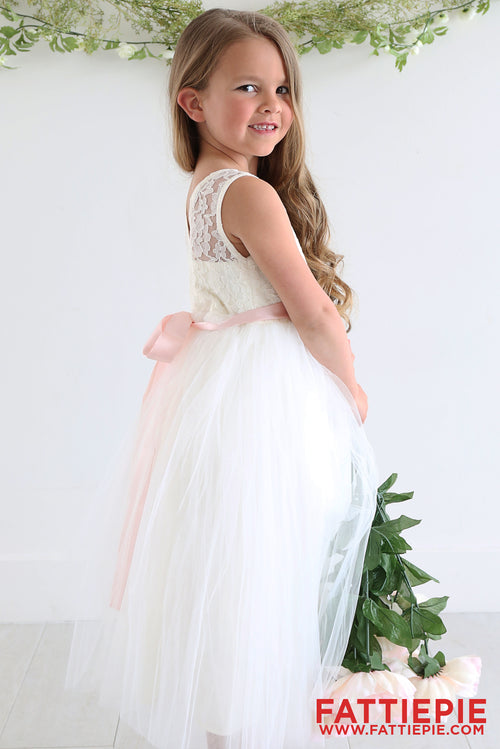 Ivory Lace Tutu V Shape Back ELI Flower girl dress