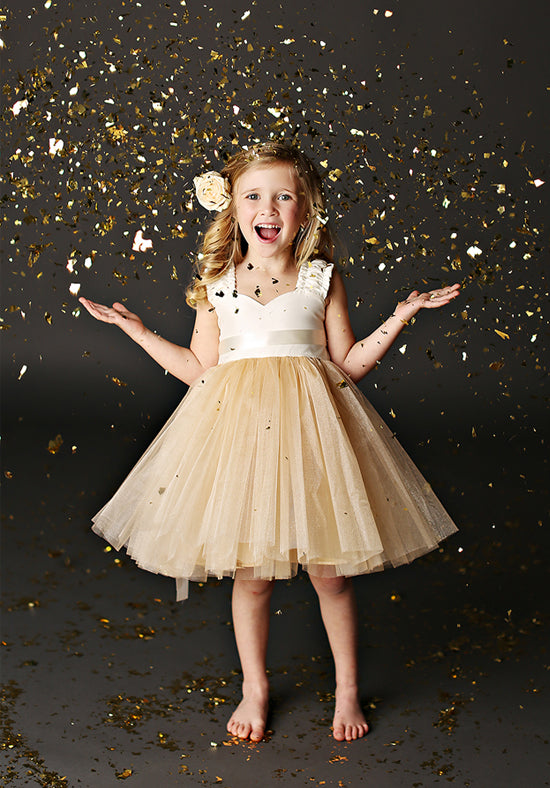 Grace Gold Flower Girl Dress