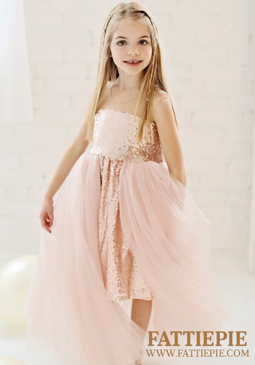 Rose Gold Sequin Flower girl dress-Fattiepie