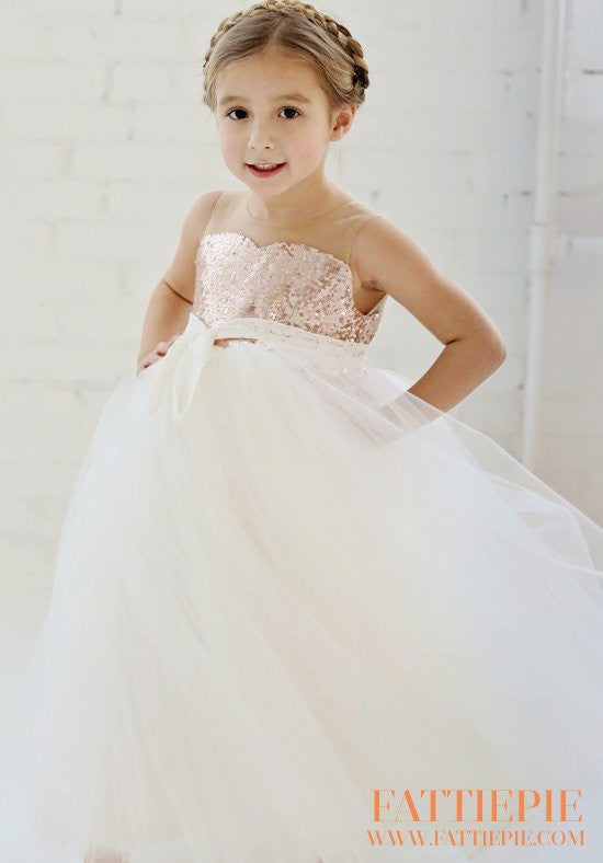 Sequin Flower girl dress- Fattiepie