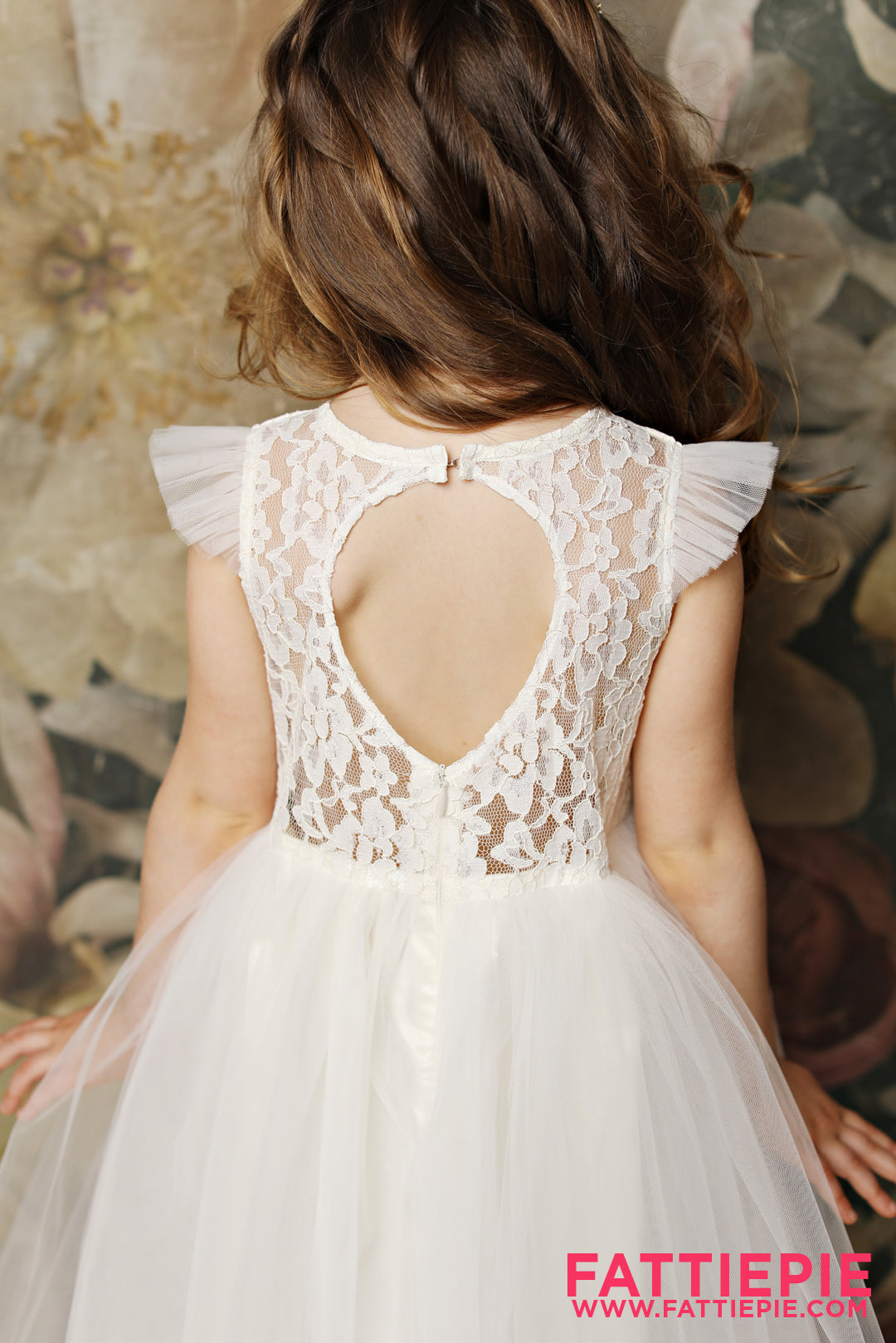 Keyhole Back Flutter Sleeves APP Flower Girl Dress