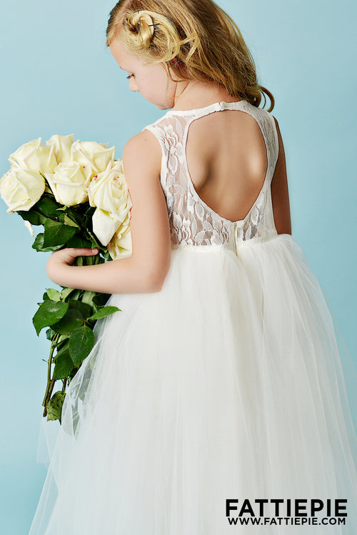 Ivory lace back keyhole flower girl dresses