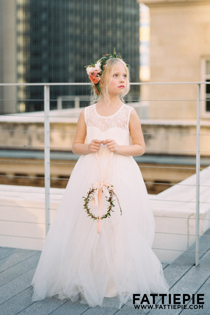 Lace ivory flower girl dresses