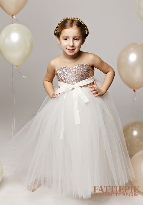 rose gold sequin flower girl dress