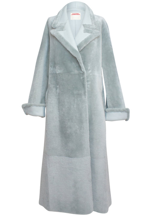 long reversible shearling coat