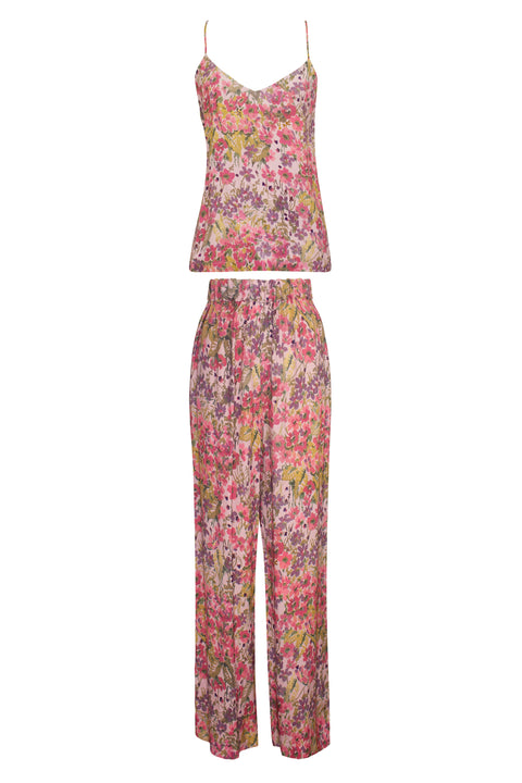 IBIZA BUGAMBILLA PINK CREPE PRINT TOP AND PANT SET