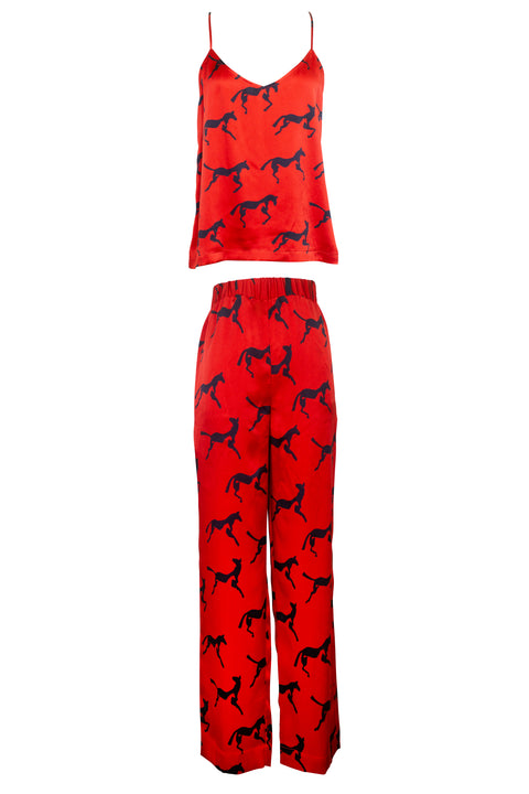 IBIZA RED NAVY HORSE PRINT TOP AND PANT SET