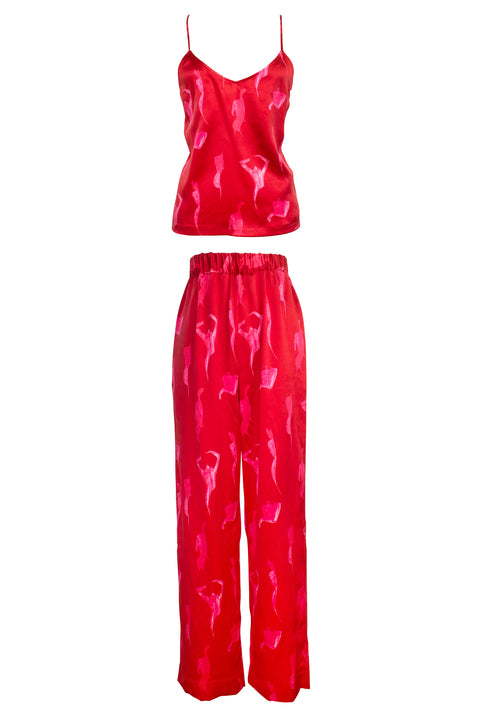 IBIZA RED AND PINK FEMALE PRINT TOP AND PANT SET