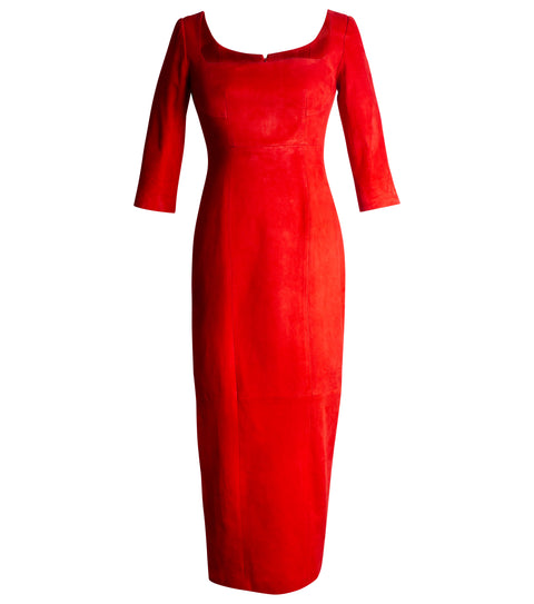 SUEDE DRESS RED