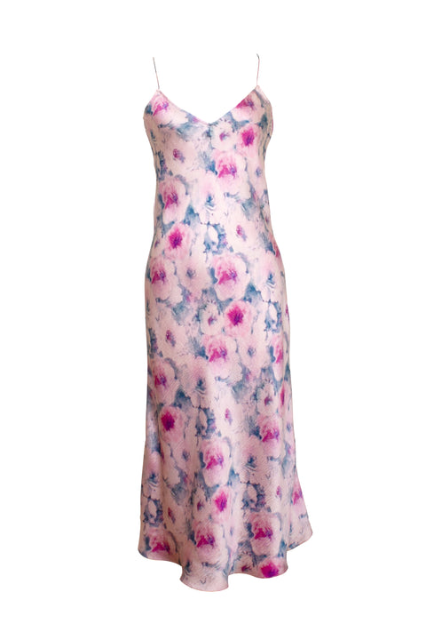 MENORCA PINK FLORAL PRINT PEBBLED CREPE SLIP DRESS