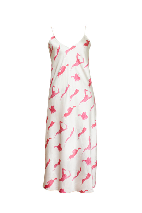 MENORCA PINK FEMALE PRINT SLIP DRESS