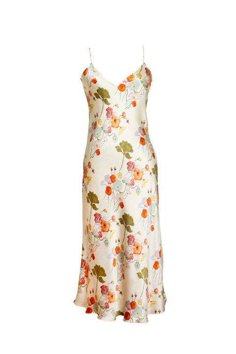 MENORCA WHITE FLORAL PRINT SLIP DRESS