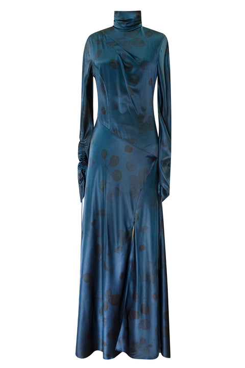 ALONDRA OCEANO FLORAL DYED LONG SLEEVE DRESS