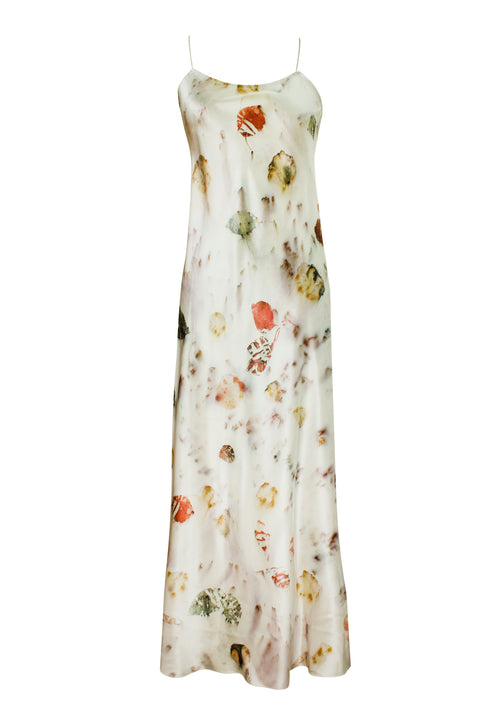 GAEL ECRU FLORAL DYED SLIP DRESS