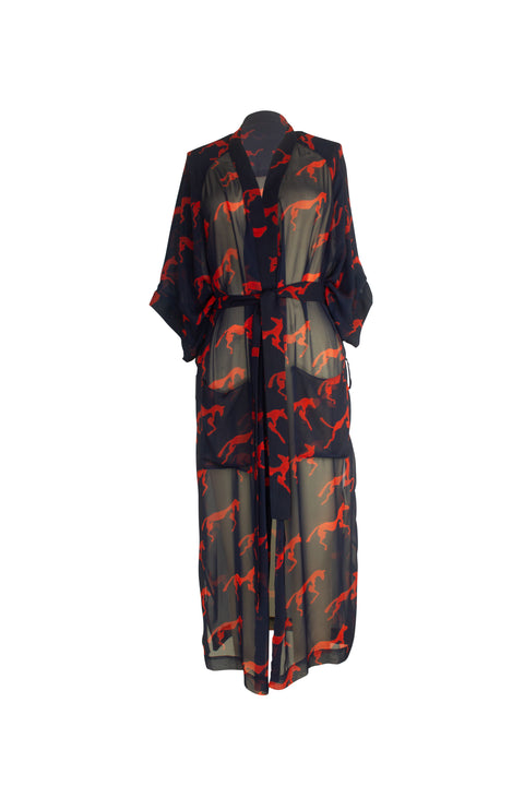 ISLA NAVY RED HORSE PRINT ROBE