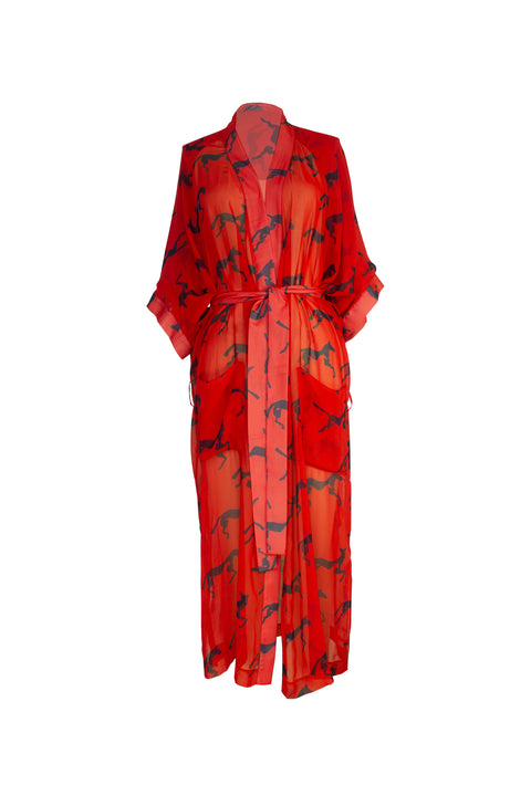 ISLA RED NAVY HORSE PRINT ROBE