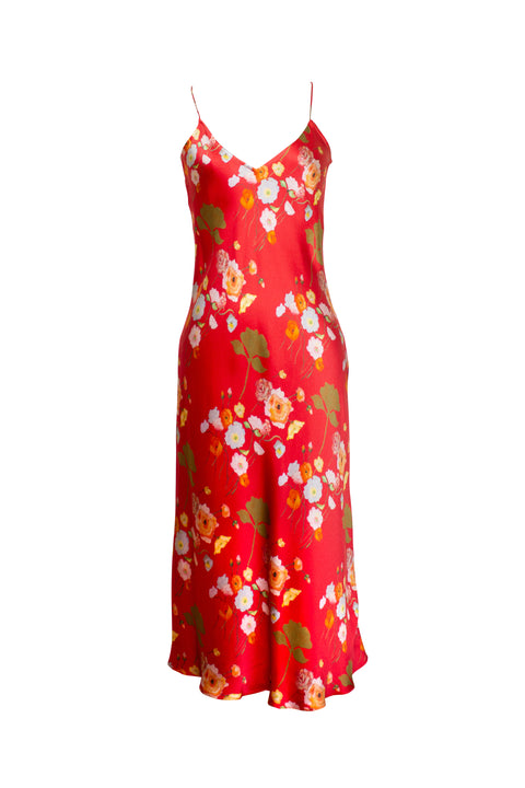 MENORCA RED FLORAL PRINT SLIP DRESS