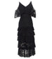 long lace dress with ruffles