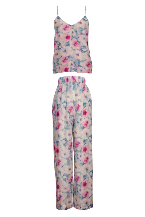 IBIZA PINK FLORAL PRINT TOP AND PANT SET