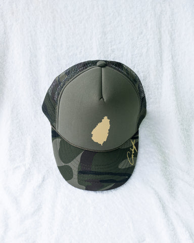 GREEN CAMO SLU GOLD TRUCKER HAT