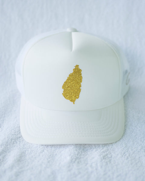 EXCLUSIVE GLITTER GOLD TRUCKER HAT