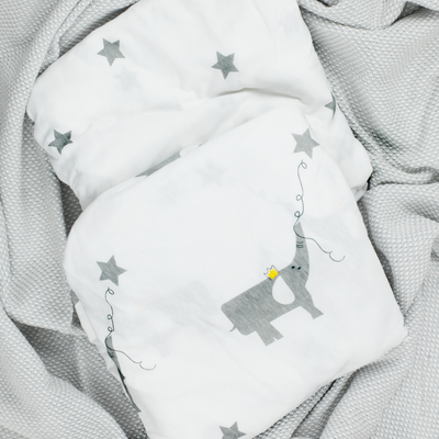 Organic Cotton Jersey Fitted Crib Sheet - Elephant