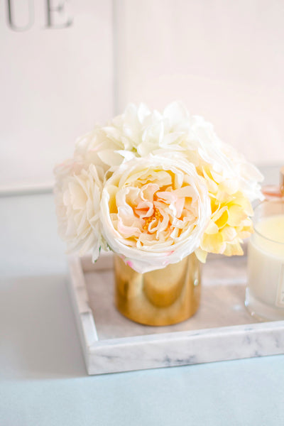 """Peachy Cream"" Silk Flower Arrangement"