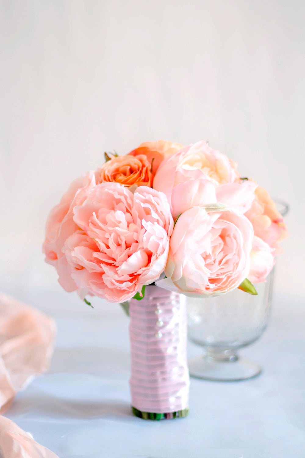 """Absolut Peachy"" Silk Wedding Bouquet"