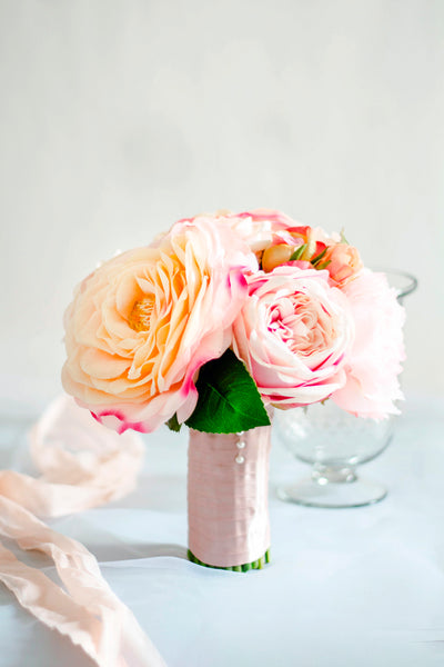 """Peach Garden"" Silk Wedding Bouquet"
