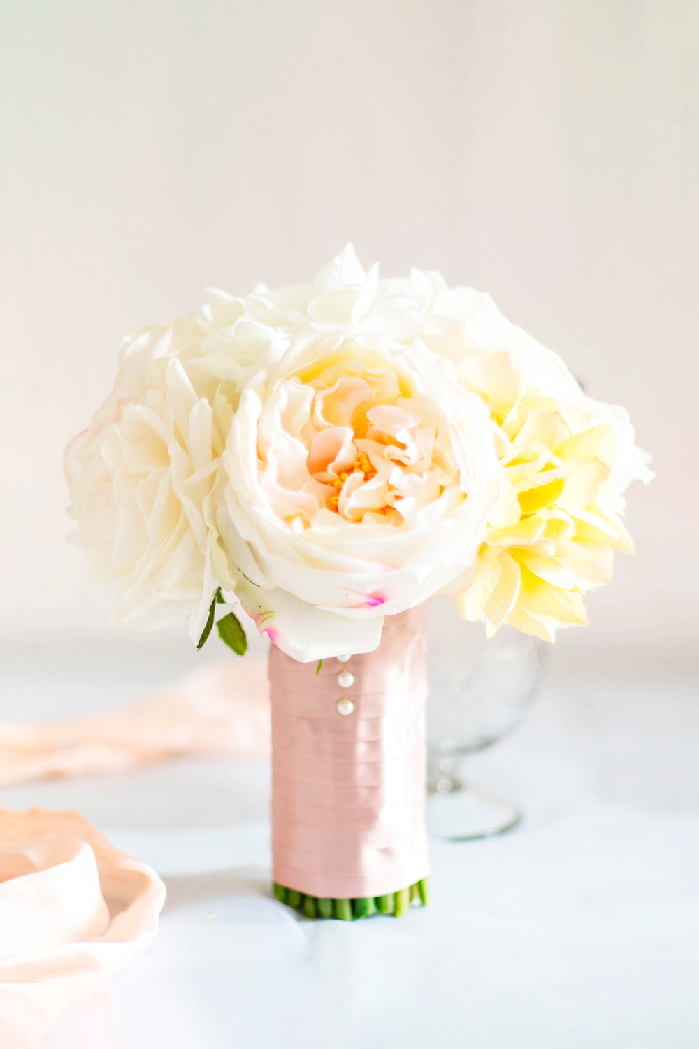 """Peachy Cream"" Silk Wedding Bouquet"