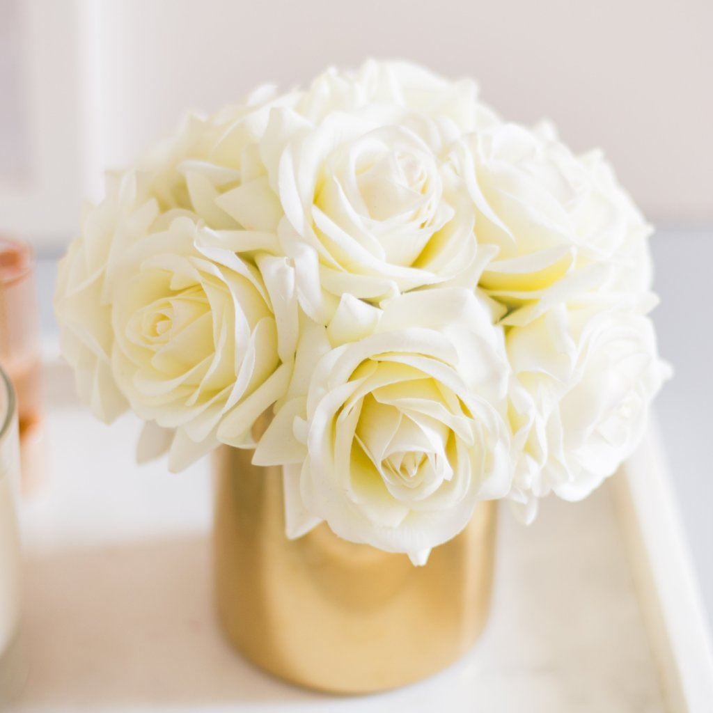 Lana Byanca Floral & 1pc White Real Touch Rose Roses Silk Flower Arrangement (in Gold Vase)