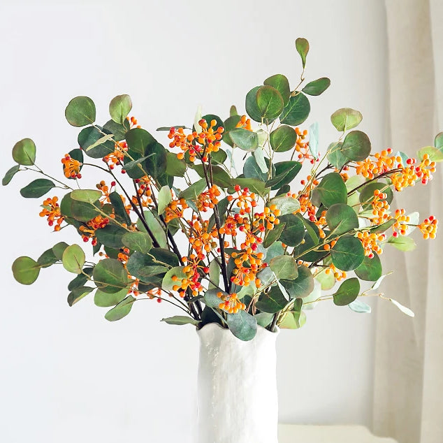1pc Orange Fruits Artificial Berries Fruits Real Touch Silk Flower