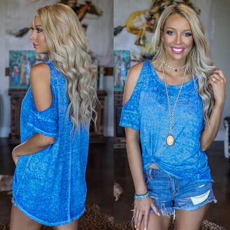 Spring Blue Leopard Pocket Tank Top