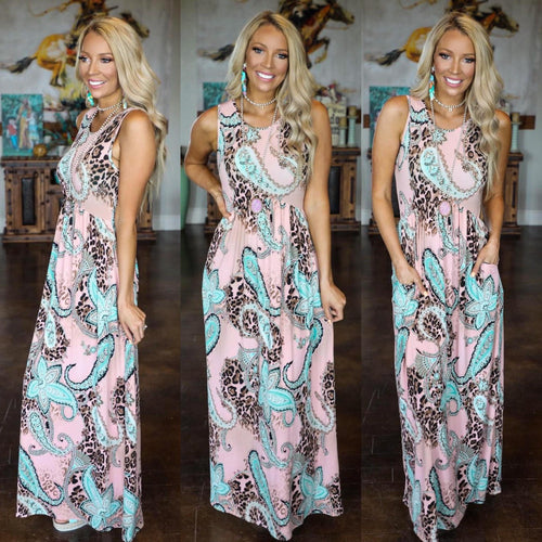 Peach Paisley Leopard Maxi Dress