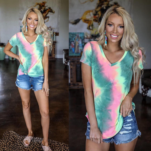 Green and Pink Tie-Dye V-Neck Tee