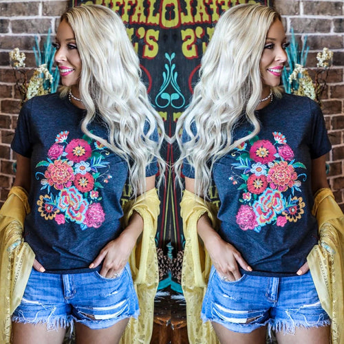 Black Heathered Floral Garden Tee