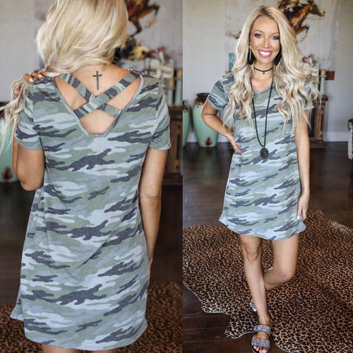 Light Camo Cross Back V-Neck Dress