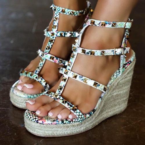 Snakeskin Pyramid Studded Wedges