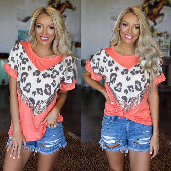 Coral, Leopard and Sequin Chevron Tee