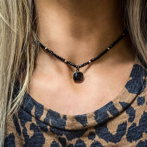 Black and Gold Pink Panache Choker Necklace - The Lace Cactus
