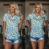 Blue Yellow Pastel Leopard V-Neck Tee