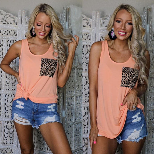 Cantaloupe Leopard Pocket Tank Top