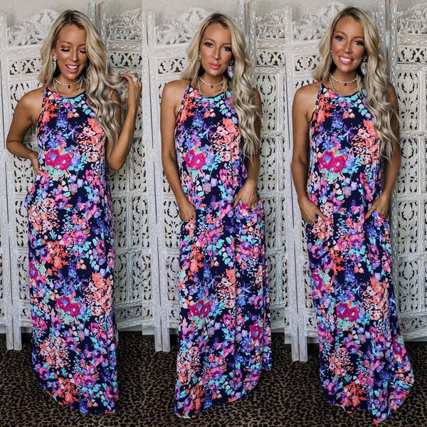 Fab Navy Floral High Neck Maxi Dress - The Lace Cactus
