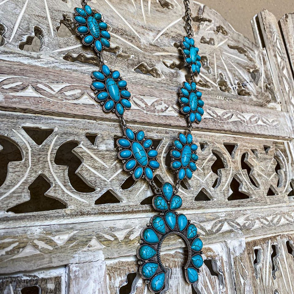 Vintage Vibes Turquoise Squash Blossom Necklace